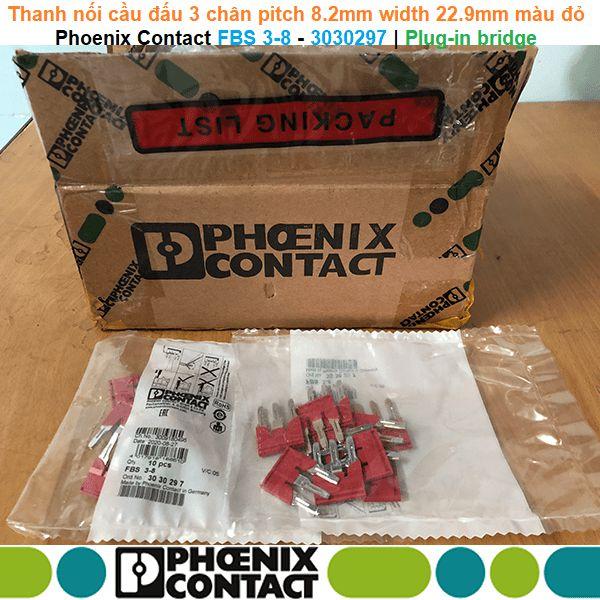 Phoenix Contact FBS 3-8 - 3030297 | Plug-in bridge -Thanh nối cầu đấu 3 chân pitch 8.2mm width 22.9mm màu đỏ