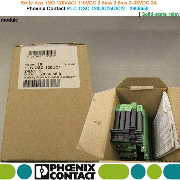 Phoenix Contact PLC-OSC-120UC/ 24DC/ 2 - 2966650   Solid-state relay module -Rờ le dẹp 1NO 120VAC/ 110VDC 3.5mA 3.5ms 3-33VDC 3A