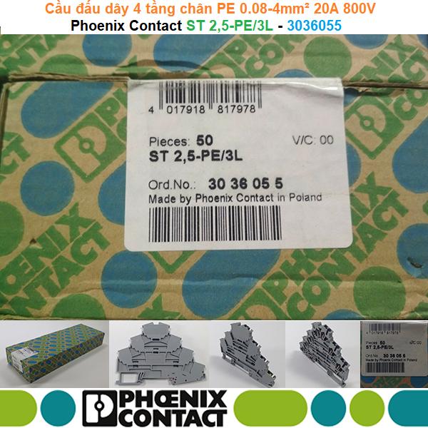 Phoenix Contact ST 2,5-PE/3L - 3036055 | Cầu đấu dây 4 tầng chân PE 0.08-4mm² 20A 800V