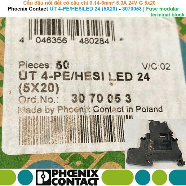 Phoenix Contact UT 4-PE/HESILED 24 (5X20) - 3070053 | Fuse modular terminal block -Cầu đấu nối đất có cầu chì 0.14-6mm² 6.3A 24V G 5x20