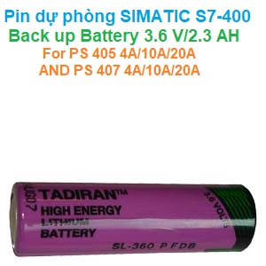 SIMATIC S7-400, BACK-UP BATTERY 3.6 V/2.3 AH FOR PS 405 4A/10A/20A AND PS 407 4A/10A/20A - 6ES7971-0BA00