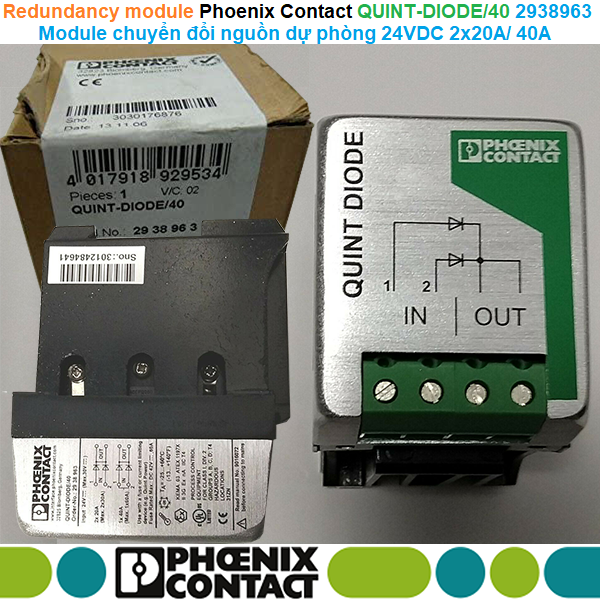 Phoenix Contact QUINT-DIODE/40 - 2938963 Redundancy module - Module chuyển đổi nguồn dự phòng 24VDC 2x20A 1x40A