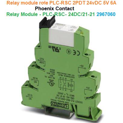 Relay module rơle PLC-RSC 2PDT 24vDC 5V 6A - Phoenix Contact - Relay Module - PLC-RSC- 24DC/21-21 - 2967060