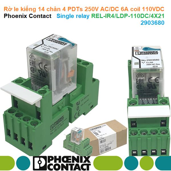 Rờ le kiếng 14 chân 4 PDTs 250V AC/DC 6A coil 110VDC - Phoenix Contact - Single relay REL-IR4/LDP-110DC/4X21 | 2903680
