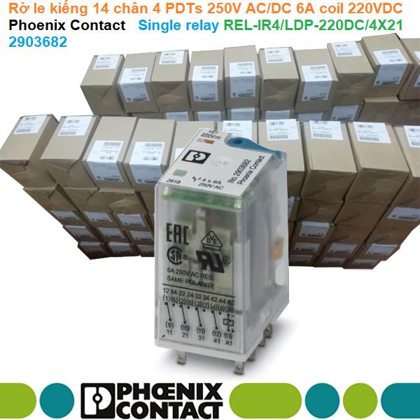 Rờ le kiếng 14 chân 4 PDTs 250V AC/DC 6A coil 220VDC - Phoenix Contact - Single relay REL-IR4/LDP-220DC/4X21 | 2903682