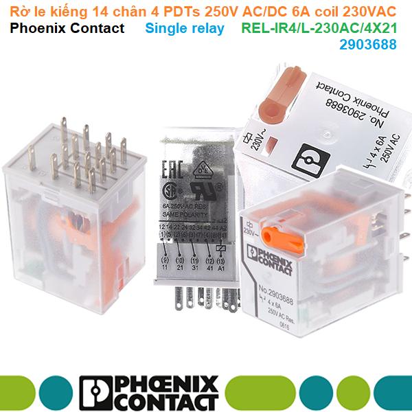 Rờ le kiếng 14 chân 4 PDTs 250V AC/DC 6A coil 230VAC - Phoenix Contact - Single relay REL-IR4/L-230AC/4X21 | 2903688