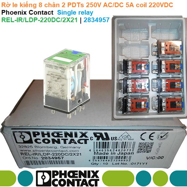Rờ le kiếng 8 chân 2 PDTs 250V AC/DC 5A coil 220VDC - Phoenix Contact - Single relay REL-IR/LDP-220DC/2X21   2834957
