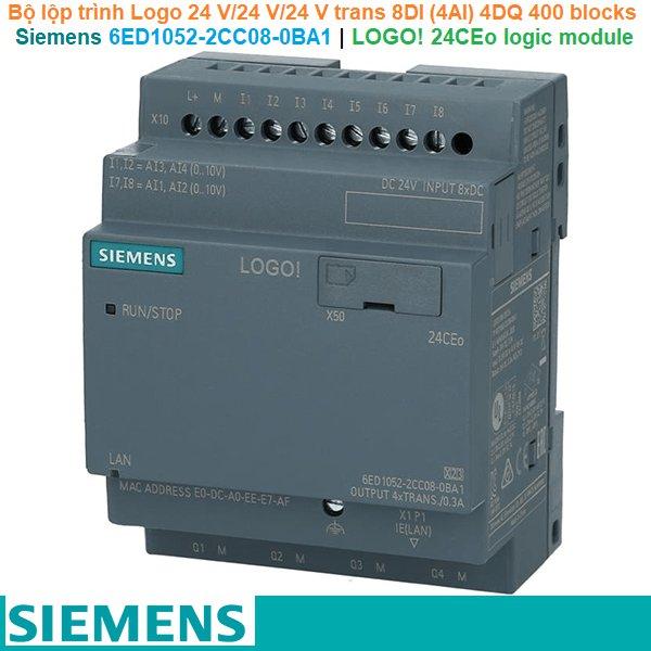 Siemens 6ED1052-2CC08-0BA1 | LOGO! 24CEo logic module -Bộ lộp trình Logo 24 V/24 V/24 V trans 8DI (4AI) 4DQ 400 blocks