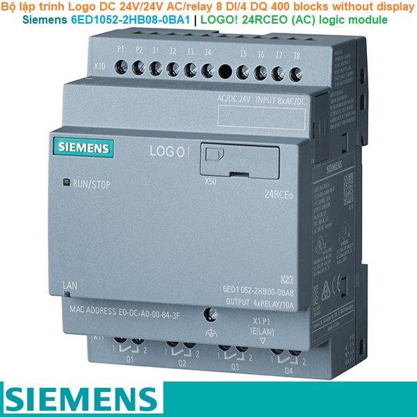 Siemens 6ED1052-2HB08-0BA1 | LOGO! 24RCEO (AC) logic module -Bộ lập trình Logo DC 24V/24V AC/relay 8 DI/4 DQ 400 blocks without display
