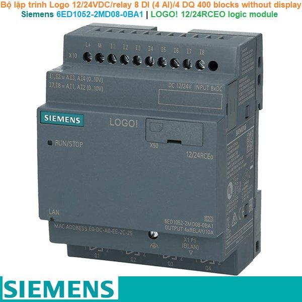 Siemens 6ED1052-2MD08-0BA1 | LOGO! 12/24RCEO logic module -Bộ lập trình Logo 12/24VDC/relay 8 DI (4 AI)/4 DQ 400 blocks without display