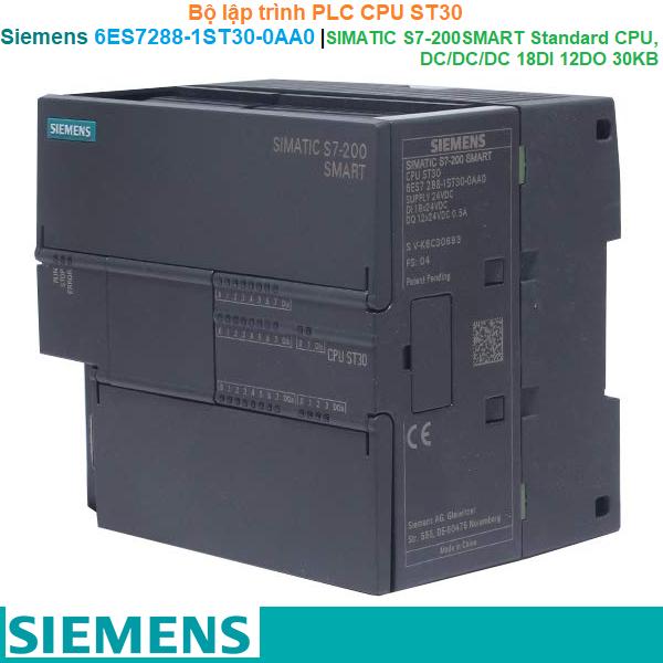 Siemens 6ES7288-1ST30-0AA0   Bộ lập trình PLC CPU ST30 -SIMATIC S7-200 smart Standard CPU DC/DC/DC 18DI 12DO 30KB