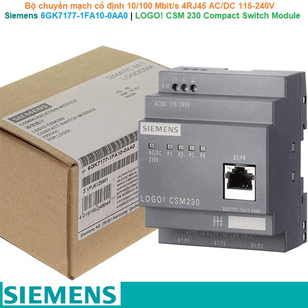 Siemens 6GK7177-1FA10-0AA0   LOGO! CSM 230 Compact Switch Module -Bộ chuyển mạch cố định 10/100 Mbit/s 4RJ45 AC/DC 115-240V