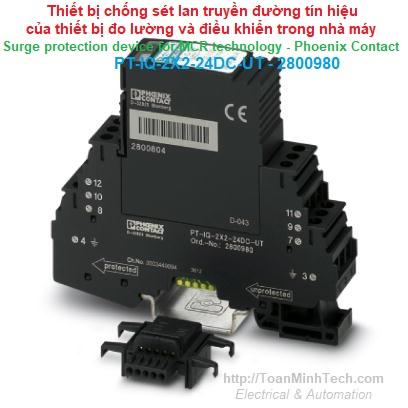 Chống sét lan truyền đường tín hiệu thiết bị đo lường, điều khiển nhà máy - Phoenix Contact - PT-IQ-2X2-24DC-UT 2800980