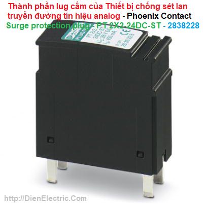 Thành phần lug cắm của Thiết bị chống sét lan truyền đường tín hiệu analog - Phoenix Contact - Surge protection plug - PT 2X2-24DC-ST - 2838228