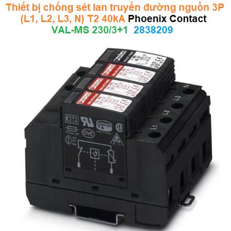 Thiết bị chống sét lan truyền đường nguồn 3P (L1, L2, L3, N) T2 40kA  - Phoenix Contact - VAL-MS 230/3+1 - 2838209