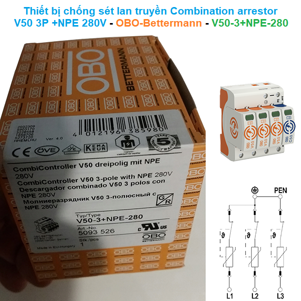 Thiết bị chống sét lan truyền Combination arrestor V50 3-pole NPE 280 V - OBO-Bettermann - V50-3+NPE-280