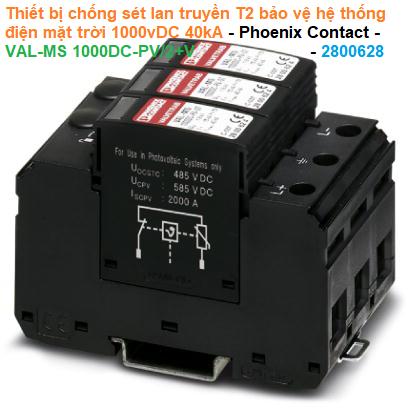 Thiết bị chống sét lan truyền T2 bảo vệ hệ thống điện mặt trời 1000vDC 40kA - Phoenix Contact - VAL-MS 1000DC-PV/2+V - 2800628