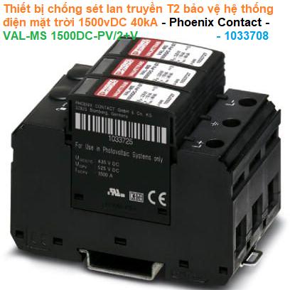 Thiết bị chống sét lan truyền T2 bảo vệ hệ thống điện mặt trời 1500vDC 40kA - Phoenix Contact - VAL-MS 1500DC-PV/2+V - 1033708