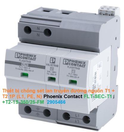 Thiết bị chống sét lan truyền đường nguồn T1 + T2 1P (L1, PE, N) - Phoenix Contact - FLT-SEC-T1+T2-1S-350/25-FM - 2905466