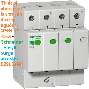 Thiết bị chống sét lan truyền đường nguồn T2 3P+N 45kA -Schneider - Easy9 surge arrester EZ9L33745