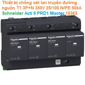 Thiết bị chống sét lan truyền đường nguồn T1 3P+N 350V 25/100 N/PE 50kA - Schneider - Acti 9 PRD1 Master 16363