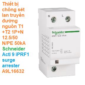 Thiết bị chống sét lan truyền đường nguồn T1+T2 1P+N 12.5/50 N/PE 50kA - Schneider - Acti 9 iPRF1 surge arrester A9L16632