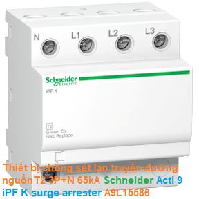 Thiết bị chống sét lan truyền đường nguồnT2 3P+N 65kA -Schneider - Acti 9 iPF K surge arrester A9L15586