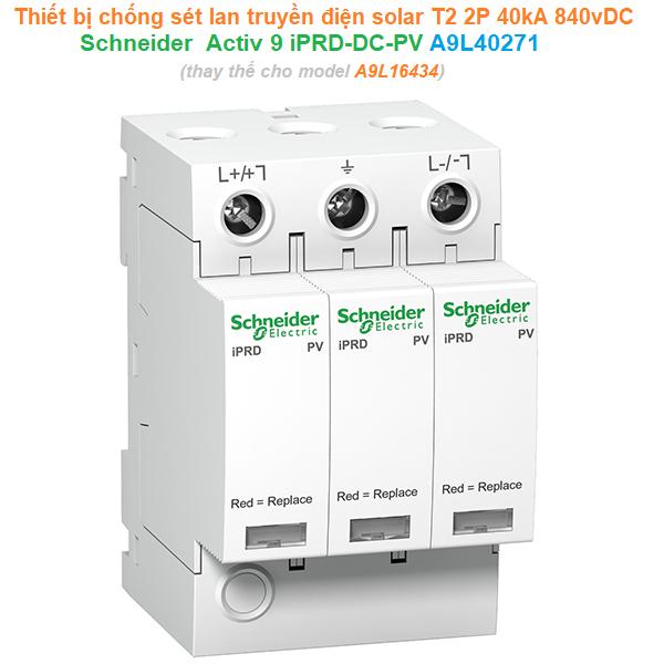 Thiết bị chống sét lan truyền quang điện mặt trời Solar PV T2 2P 40kA 840vDC - Schneider - Activ 9 iPRD-DC-PV A9L40271