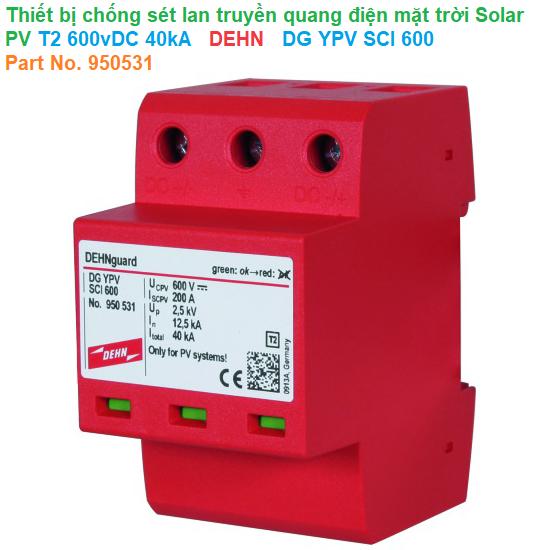 Thiết bị chống sét lan truyền quang điện mặt trời Solar PV T2 600vDC 40kA - DEHN - DG YPV SCI 600 - Part No. 950531