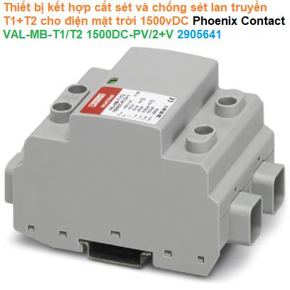 Thiết bị kết hợp cắt sét và chống sét lan truyền T1+T2 cho điện mặt trời 1500vDC - Phoenix Contact - VAL-MB-T1/T2 1500DC-PV/2+V - 2905641