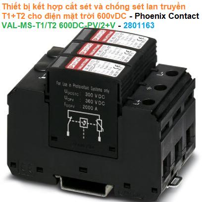 Thiết bị kết hợp cắt sét và chống sét lan truyền T1+T2 cho điện mặt trời 600vDC Phoenix Contact - VAL-MS-T1/T2 600DC-PV/2+V - 2801163
