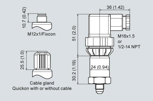 Bản vẽ kỹ thuật Cảm biến áp suất Pressure sensor 0-10 bar 4-20mA - Siemens - 7MF1565-3CA00-1AA1