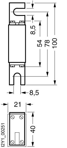 Bản vẽ kỹ thuật Cầu chì Fuse 200A 690vAC 440vDC - Siemens - LV HRC fuse 3NE8725-1
