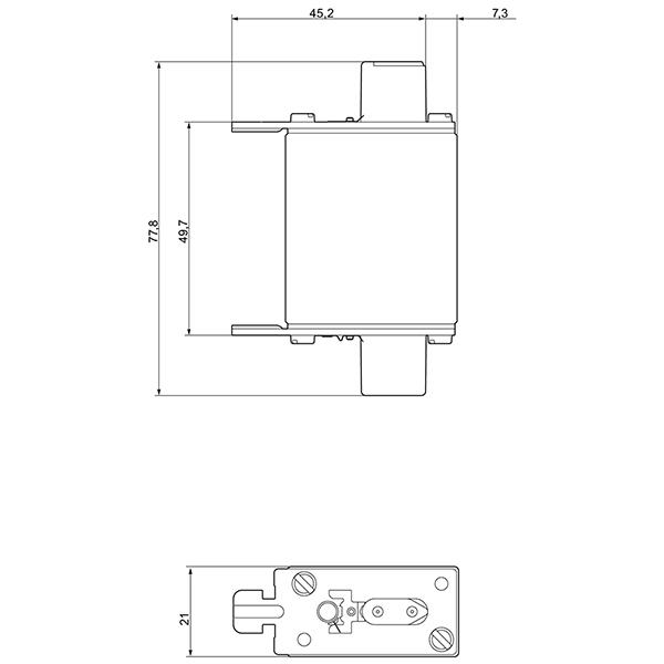 Bản vẽ kỹ thuật Cầu chì Fuse 50A 500vAC 250vDC - Siemens - LV HRC fuse 3NA3820