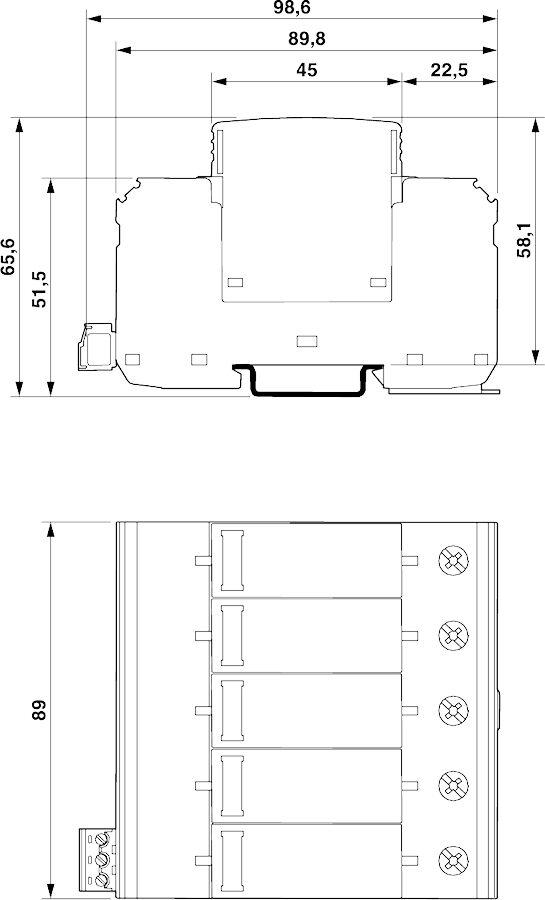 Bản vẽ kỹ thuật Chống sét lan truyền điện mặt trời Solar PV T2 5Pos 40kA 1000vDC - Phoenix Contact - VAL-MS-CN 1000DC-PV/4+V-FM - 2907820