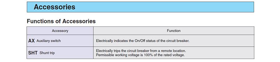 Chức năng của các phụ kiện rời củaMCBBHW-T10 2P có dòng từ 0.5 đến 63A