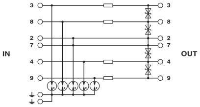 Circuit diagram Diagram Bộ thiết bị chống sét lan truyền đường tín hiệu RS485 - Phoenix Contact - MT-RS485 - 2762265