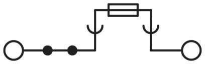 Circuit diagram Cầu đấu nối điện có cầu chì  4mm2 500V 10A 5x20 - Phoenix Contact - Fuse modular terminal block - UT 4-HESI (5X20) - 3046032