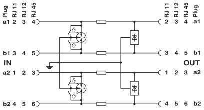 Circuit diagram Thiết bị chống sét lan truyền đường tín hiệu viễn thông DSL 50Mbps RJ45 - Phoenix Contact - DT-TELE-RJ45 - 2882925