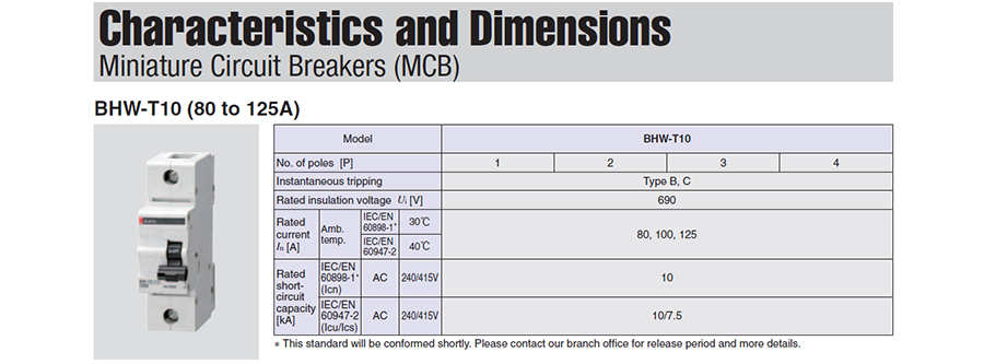 Đặc tính và kích thước của các MCBBHW-T10 2P có dòng từ 80 đến 125A