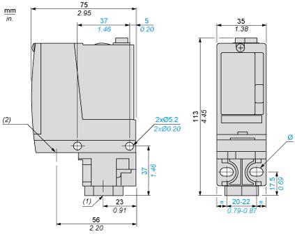 Bản vẽ kích thước Cảm biến áp suất cơ-điện cho mạch điều khiển - Schneider - OsiSense XM XMLA020A2S11