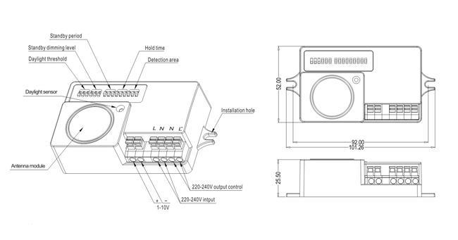 Bản vẽ kỹ thuật Cảm biến chuyển động tự động tăng-giảm độ sáng đèn Automatic dimming motion sensor - Merrytek - MC003V/R