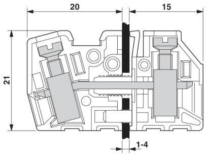 Dimensional drawing 01 Cầu đấu nối dây điện gắn trên panel  6mm2 41A - Phoenix Contact - Panel feed-through terminal block - HDFK 4 - 0707086