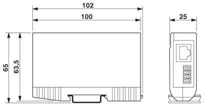 Dimensional drawing Thiết bị chống sét lan truyền đường tín hiệu viễn thông DSL 50Mbps RJ45 - Phoenix Contact - DT-TELE-RJ45 - 2882925