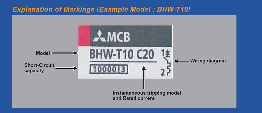 Giải thích ký hiệuMCB BHW-T10 2P
