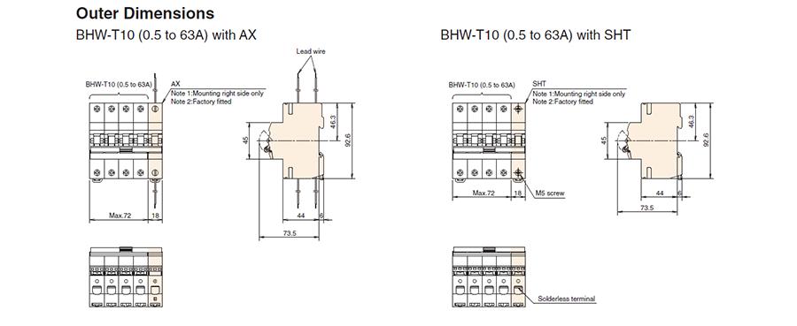 Kích thước bên ngoài của các phụ kiện rời củaMCBBHW-T10 3P có dòng từ 0.5 đến 63A