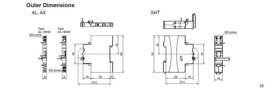 Kích thước bên ngoài của các phụ kiện rời củaMCBBHW-T10 2P có dòng từ 80 đến 125A