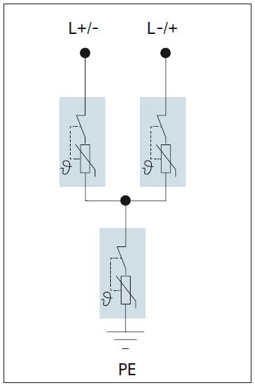 Mạch Y bao gồm ba varistors với các điểm ngắt kết nối nhiệt