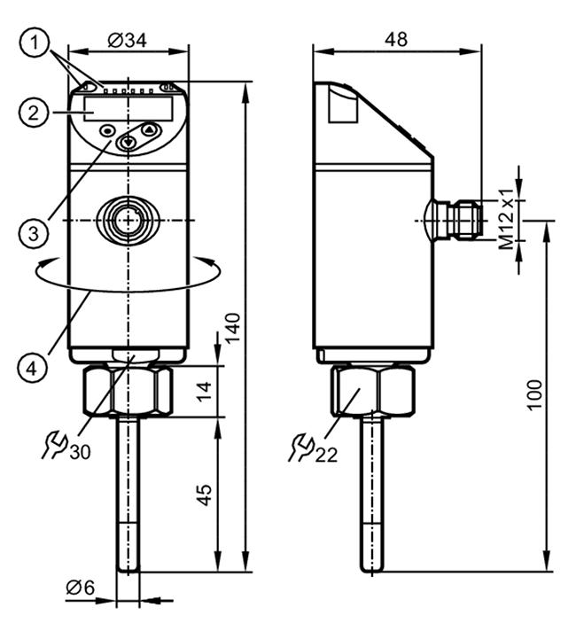 Bản vẽ kỹ thuật Cảm biến nhiệt độ có thông số hiển thị Temperature sensor with display - IFM - TN2511 (TN-045KCBD18-MFPKG/US/)
