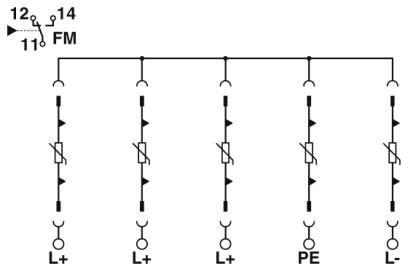 Sơ đồ mạch Chống sét lan truyền điện mặt trời Solar PV T2 5Pos 40kA 1000vDC - Phoenix Contact - VAL-MS-CN 1000DC-PV/4+V-FM - 2907820